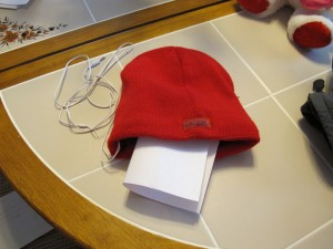 A hat with a note in it