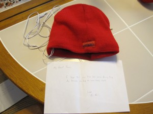 Hat with note