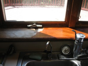 Kitchen Window Sill Half Way Stained
