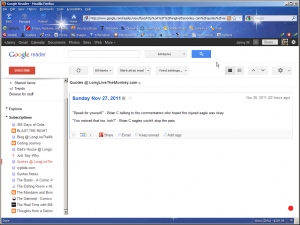 Google Reader only showing one result, no scroll option