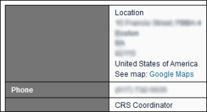 "The ""location"" text and ""CRS Coordinator"" text is above the data and not in the t h"