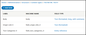 content type with body, origin link which is just a text field, categories as taxonomy entity reference